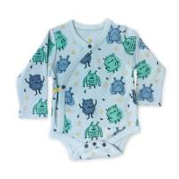 Finn + Emma Organic Cotton Long Sleeve Baby Bodysuit – Monsters, 6-9 Months