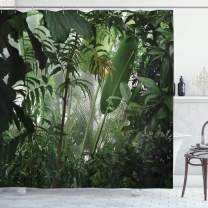 """Ambesonne Rainforest Shower Curtain, Tropical Rainforest Preservation Humidity Palm Tree Wild Environment Misty Nature, Cloth Fabric Bathroom Decor Set with Hooks, 75"""" Long, Green White"""