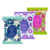 Body Prescriptions Makeup Remover Wipes Bulk, 3 Pack, 90 Facial Cleansing Cloths Removes Makeup, Mascara, Dirt and Oil (Cucumber Coconut Water, Vanilla Coconut Oil, French Lavender)
