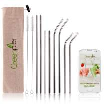 Stainless Steel Reusable Straws with Rounded Edge - Set of 8 in 2 Lengths - 4 Straight 4 Bent, 2 Long Cleaning Brushes, Eco Bag - Use with Tumblers, Glasses and Mason Jars