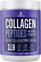 InstaSkincare Collagen Peptides Hydrolyzed Powder. Non-GMO, Grass-Fed, Gluten-Free, Unflavored - Easy to Mix Drink - Premium Beef Collagen Powder Promotes Healthy Hair, Skin and Nails. 1 Pound