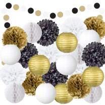 EpiqueOne 22 Piece Black Gold White Table & Wall Party Decorations Kit | Hanging Tissue Paper Pom Poms, Lanterns, Balls | Birthday Celebrations, Wedding, Graduation Decor