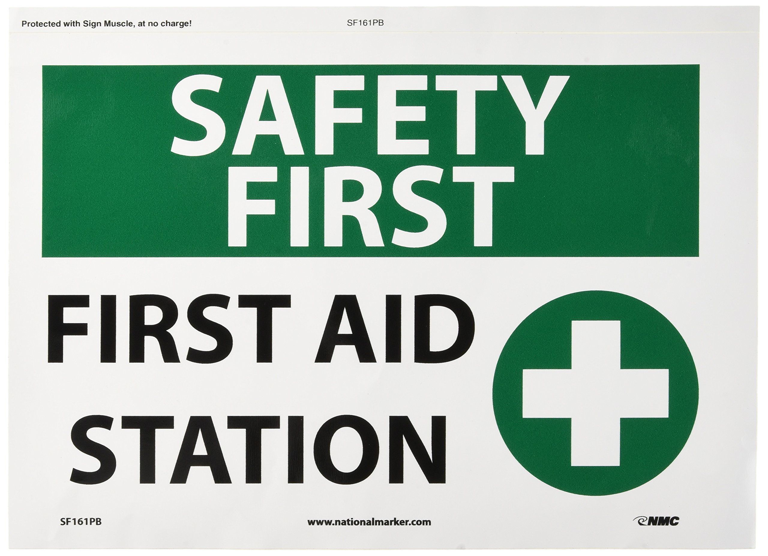 """NMC SF161PB OSHA Sign, Legend """"SAFETY FIRST - FIRST AID STATION"""" with Graphic, 14"""" Length x 10"""" Height, Pressure Sensitive Vinyl, Black/Green on White"""