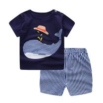 Baby Boy Summer Playwear Set,Infant Cartoon Printed Tops + Elastic Shorts