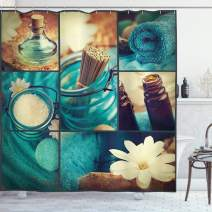 """Ambesonne Spa Shower Curtain, Blue Themed White Daisies Scents Towels and Incense Artwork Collage Design, Cloth Fabric Bathroom Decor Set with Hooks, 70"""" Long, Blue Brown"""