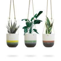 3pk Ceramic Hanging Planter for Indoor Plants, Colorful Round Pots, Air Succulent Holder Container, Cactus Pot with Cotton Rope Hanger, Outdoor Decor, 23 Bees (3, Nature's Sunrise)