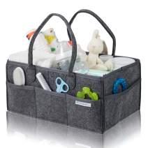 Baby Diaper Caddy Organizer Large by Babysense Care | Foldable Basket Nursery Essentials Storage Bin for Changing Table | Car Travel Portable Holder Bag ● Dark Grey