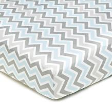 American Baby Company 100% Natural Cotton Percale Fitted Crib Sheet for Standard Crib and Toddler Mattresses, Blue Zigzag, Soft Breathable, for Boys and Girls