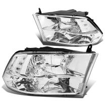 DNA Motoring HL-OH-DR09QUA-CH-CL1 Headlight Assembly, Driver and Passenger Side,Chrome Housing/ Clear Corner