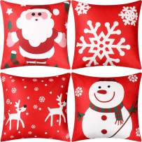 Jetec 4 Pieces Pillow Case Throw Cushion Cover Cotton Linen Pillow Decorations for Halloween Thanksgiving Christmas Autumn, 18 by 18 inch (Color Set 11)