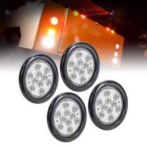 "4pc 4"" Round Clear White LED Trailer Tail Lights [DOT Certified] [Grommet & Plug Included] [IP67 Waterproof] Reverse Back Up Trailer Lights for RV Trucks"