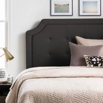 LUCID Bordered Upholstered Headboard with Square Tufting and Scalloped Edges Twin/Twin XL Charcoal