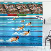 """Ambesonne Olympics Shower Curtain, Illustration of Swimmers During Swimming Competition Sports Theme Cartoon Art, Cloth Fabric Bathroom Decor Set with Hooks, 70"""" Long, Blue Beige"""