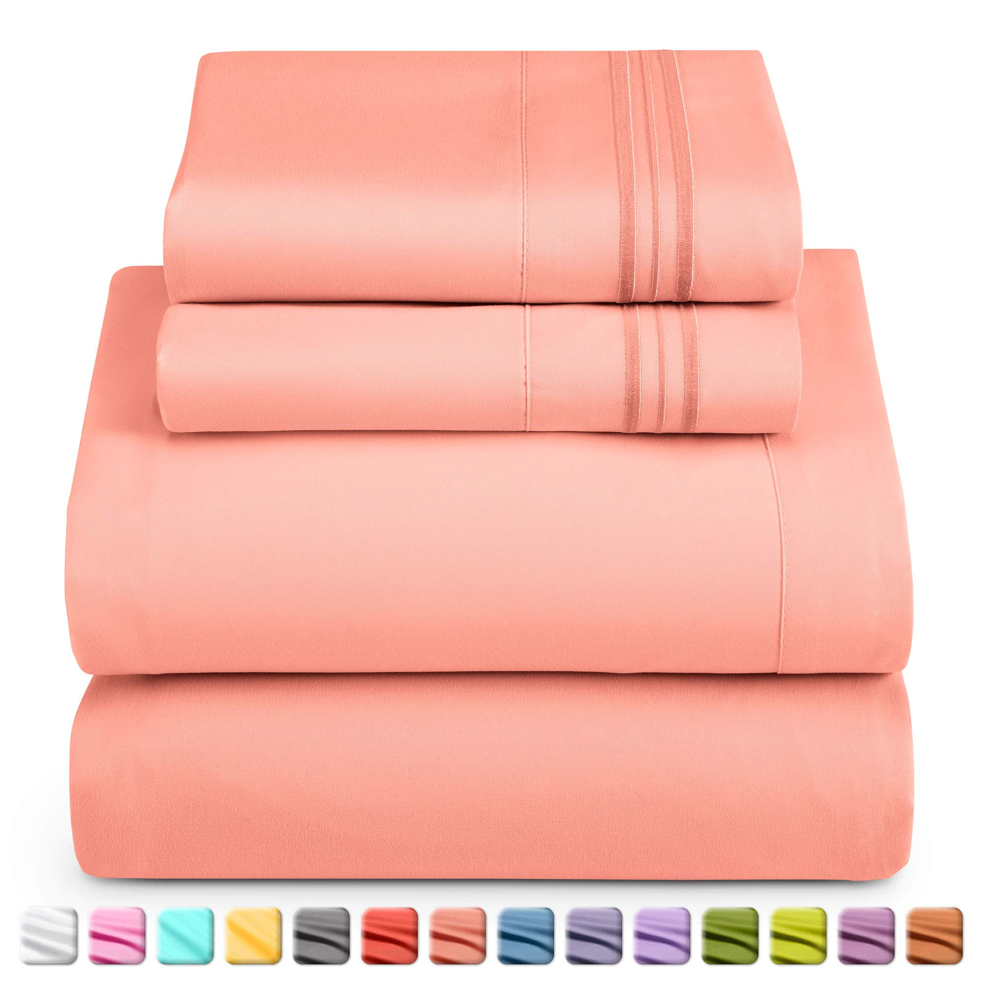 Nestl Deep Pocket Cal King Sheets: 4 Piece Cal King Size Bed Sheets with Fitted Sheet, Flat Sheet, Pillow Cases Extra Soft Microfiber Bedsheet Set with Deep Pockets for CK Sized Mattress - Misty Rose