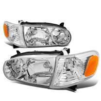 Replacement for Corolla 9th Gen Pair of OE Style Chrome Housing Amber Corner Headlight