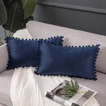 Ashler Throw Pillow Cases with Soft Pom Poms Velvet Plush Vibrant Elegant Cushion Covers, Pack of 2, Dark Blue 12 x 20 inches 30 x 50 cm