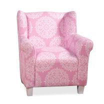 HomePop Youth Upholstered Accent Chair, Pink and White Medallion