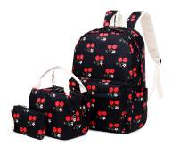 Joymoze Lightweight Cute School Bag with Lunch Tote Bag and Pencil Purse School Bookbag Set Black Cherry
