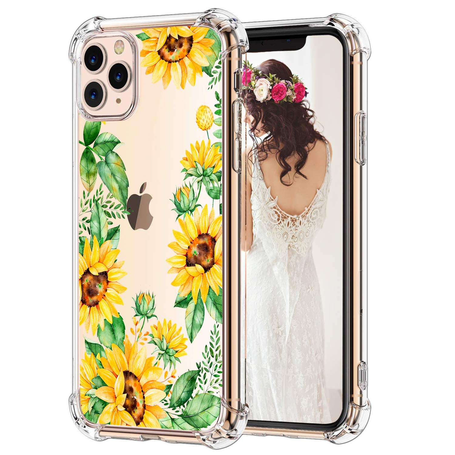 Hepix iPhone 11 Pro Max Case Sunflowers 11 Pro Max Cases, Flowers Green Leaves Slim Clear Flexible Soft TPU Frame with Protective Corners, Anti-Scratch Shock Absorption for iPhone 11 Pro Max (2019)