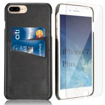 """iPhone 8 Plus iPhone 7 Plus Card Case - iPulse [Dallas Series] Genuine Italian Full Grain Leather Snap On Wallet Card Case for iPhone 7 Plus (5.5"""") with Tempered Glass Screen Protector - Black"""
