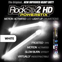 ROCKSTIX 2 HD WHITE, BRIGHT LED LIGHT UP DRUMSTICKS, with fade effect, Set your gig on fire! (WHITE)