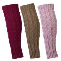 3 Pairs Leg Warmer for Women,Knee High Cable Knit Warm Thermal Acrylic Winter Sleeve