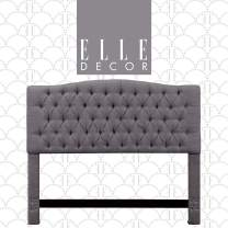 Elle Decor Celeste Upholstered Padded Headboard with Contemporary Button Tufting, Soft Velvet-Textured Fabric, Tufted Queen, Gray
