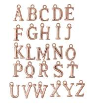 Mandala Crafts Name Initial Alphabet Letter Charm Loose Beads for Pendant Necklace Bracelet Earring Jewelry Making (Rose Gold Tone 4 Sets)