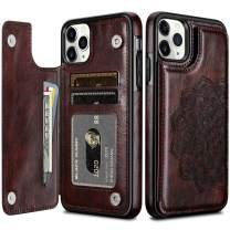 HianDier Wallet Case for iPhone 11 Pro Max Case Slim Protective Case with Credit Card Slot Holder Flip Folio Soft PU Leather Magnetic Closure Cover for 2019 iPhone 11 Pro Max 6.5 Inches, Mandala Brown