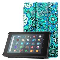 Famavala Shell Case Cover Compatible with All-New Fire 7 Tablet [9th Generation, 2019 Release] (MintFlower)