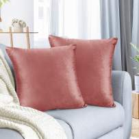 """Nestl Bedding Throw Pillow Cover 16"""" x 16"""" Soft Square Decorative Throw Pillow Covers Cozy Velvet Cushion Case for Sofa Couch Bedroom, Set of 2, Misty Rose"""