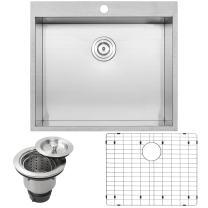 "25"" Ticor PLZ-610 Overmount 18 Gauge Stainless Steel Zero Radius Single Bowl Kitchen Sink with Accessories"