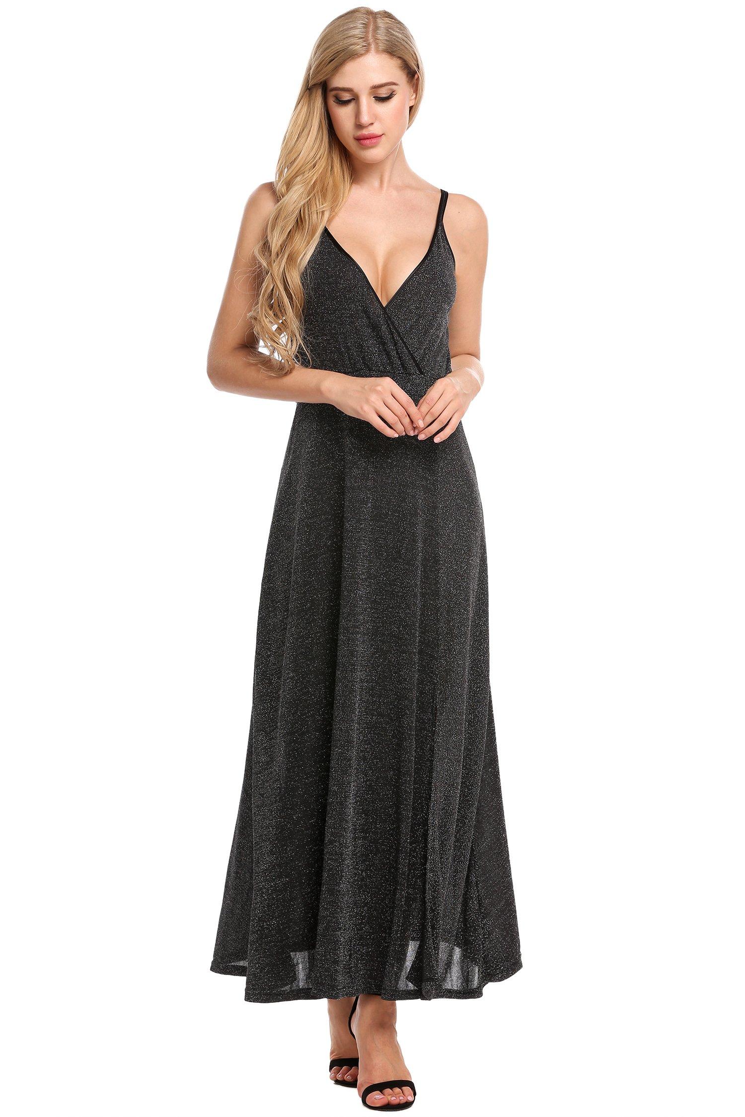 Zeagoo Women's Wrap Sexy V Neck Spaghetti Strap Maxi Evening Dress Black
