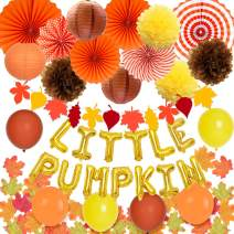 KREATWOW 80 Pack Pumpkin 1st Birthday Decorations Fall Autumn Themed Neutral Baby Shower Supplies with Maple Leaves Garland Balloons Paper Fans