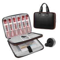 2 in 1 Briefcase for Men & Electronic Organizer Handbag Business Man Bag Laptop Bag Tablet Travel Universal Cable Organizer Electronics Bag