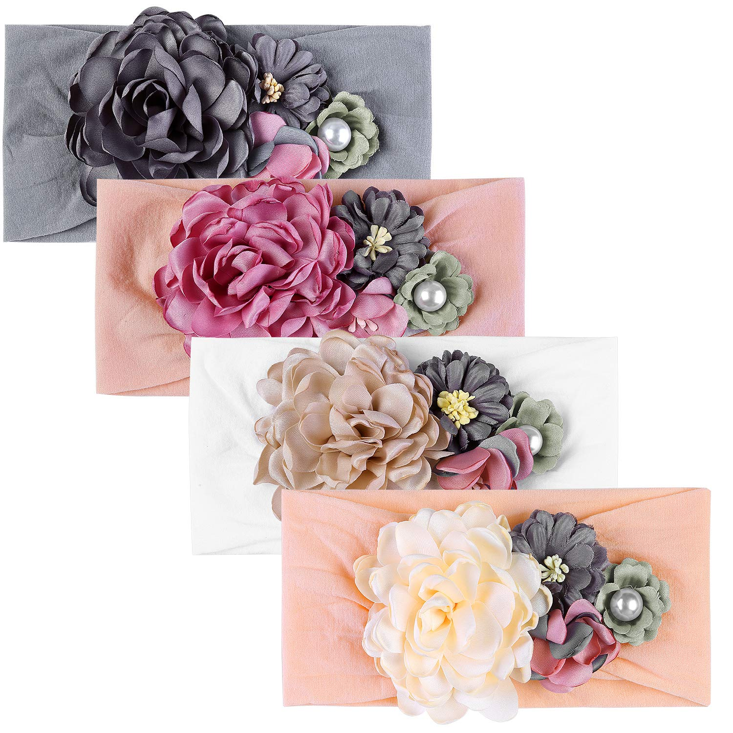 Senbowe Upgrade Stretchy Baby Girl Headbands and Bows, Nylon Floral Big Baby Hair Bows Headband for Infants Newborns Toddlers Kids Hair Accessories