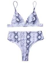 RXRXCOCO Women Tie Knot High Waisted Bikini Two Piece Swimsuits High Cut Leg Cheeky Bathing Suits for Women