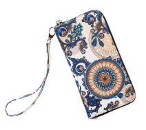 LOVESHE Women wallet Purse Credit Card Clutch Zip Around Phone Clutch Large Travel Purse Wristlet Bohemian