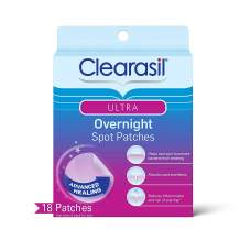 Acne Treatment Face Patches - Clearasil Ultra Overnight Spot Patches Advanced Healing for Acne Control, 18 Count.