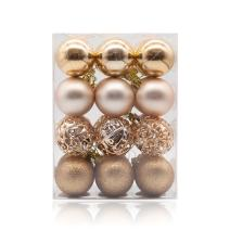 """AMS 60mm/24ct Christmas Ball Pierced Trees Pendant Shatterproof Ball Ornament Seasonal Decorations Ideal for Xmas, Holiday and Party Widgets (2.36"""", Champagne)"""