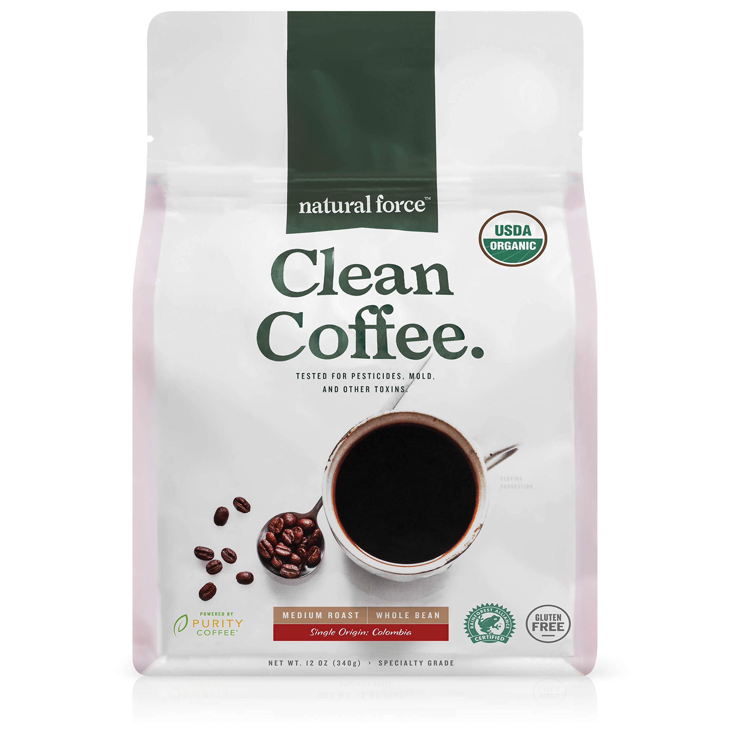 Natural Force Organic, Mold Free Clean Coffee – Low Acid, Whole Bean, Rainforest Alliance Certified Medium Roast - Great Taste + Aroma - Tested for Toxins and Powered by Purity - 12 Ounce Bag