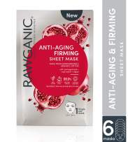 Rawganic Anti-aging & Firming Organic Sheet Mask, Biodegradable Organic Cotton Face Mask, with Pomegranate, Rose Water and Algae (box of 6) …