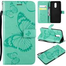 Cmeka Emboss Butterfly Wallet Case for LG Stylo 4,Wrist Strap,Flip PU Leather Magnetic Closure,Card Slots,Kickstand Function (Mint Green)