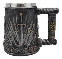 Ebros Gift Large Medieval Dragon Iron Throne Of Swords And Heraldry Crest Shields Coffee Mug 14oz Drinking Beer Stein Tankard Cup Fantasy Dungeons And Dragons Elixir Of Life Valyrian Steel Blades