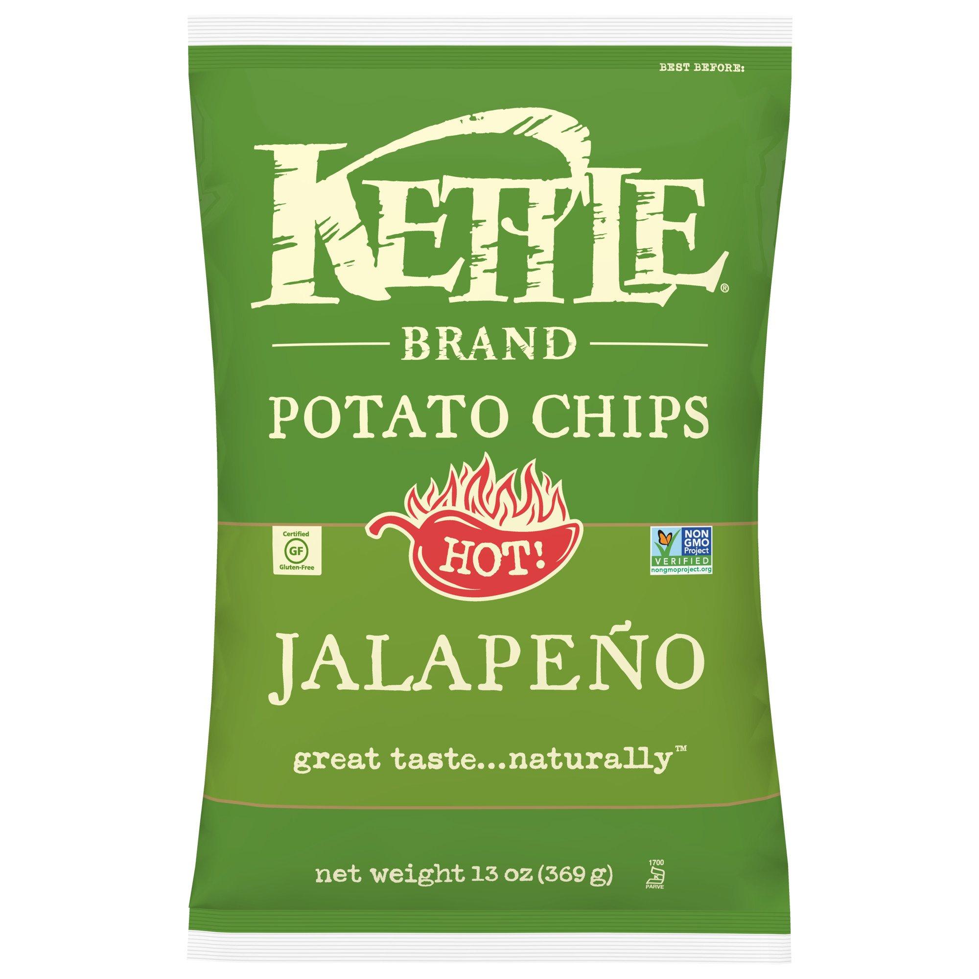Kettle Brand Potato Chips, Jalapeno, 13 Ounce Party Size