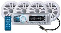 BOSS Audio Systems MCK1308WB.64 Receiver Speaker Package, Bluetooth, MP3 USB SD AM FM Marine Stereo, Detachable Front Panel, Wireless Remote - - no CD DVD, 4 6.5 Inch Speakers, Antenna