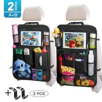 Backseat Car Organizer with Touch Screen Tablet Holder Tissue Box 2 Pack Tocode, Car Seat Protector Kick Mats Multi Storage Pockets for Kids Toy Book Bottle Baby Travel Accessories with Headrest Hook