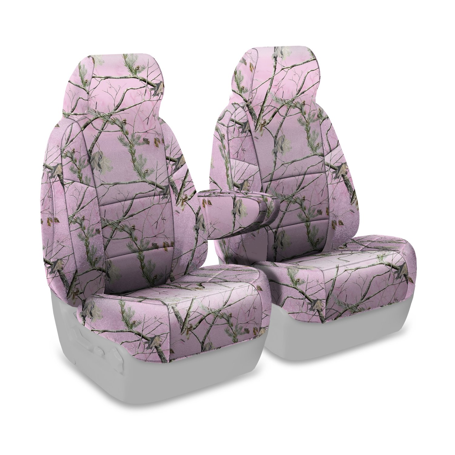 Coverking Front 50/50 Bucket Custom Fit Seat Cover for Select Chevrolet Silverado 1500/2500 Models - Neosupreme Camo Real Tree (AP Pink Solid)