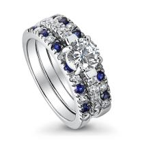 BERRICLE Rhodium Plated Sterling Silver Round Cubic Zirconia CZ Solitaire Engagement Wedding Ring Set 2 CTW
