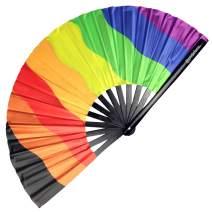 Pride Fans Inclusive Rainbow Hand Fan Loud Clack Drag Queen Folding Fan Large Pride Festival Fan Chinese Big Bamboo Fan for Men Women Dance Pride Folding Fan